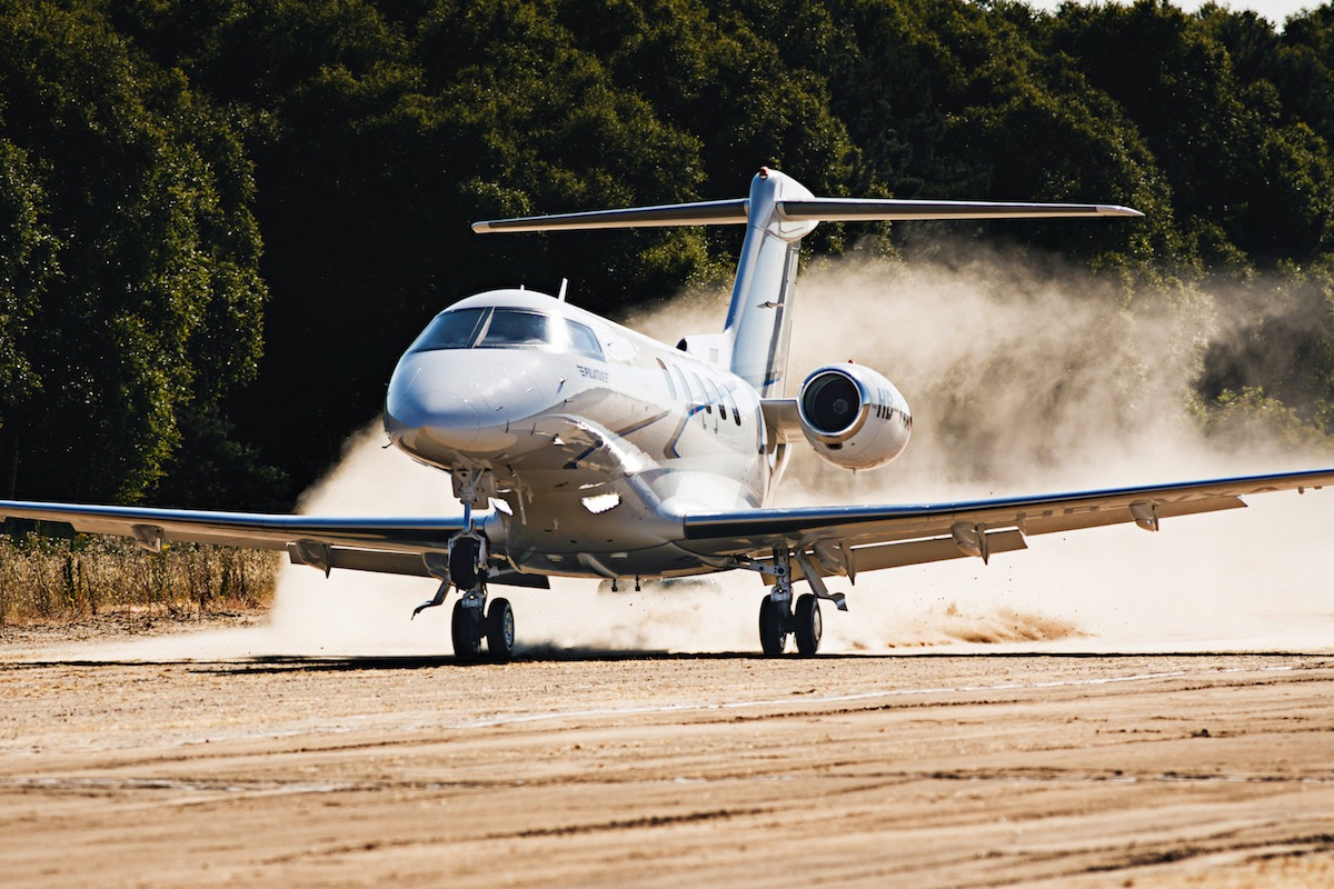 Pilatus PC-24 landing on a dirt strip