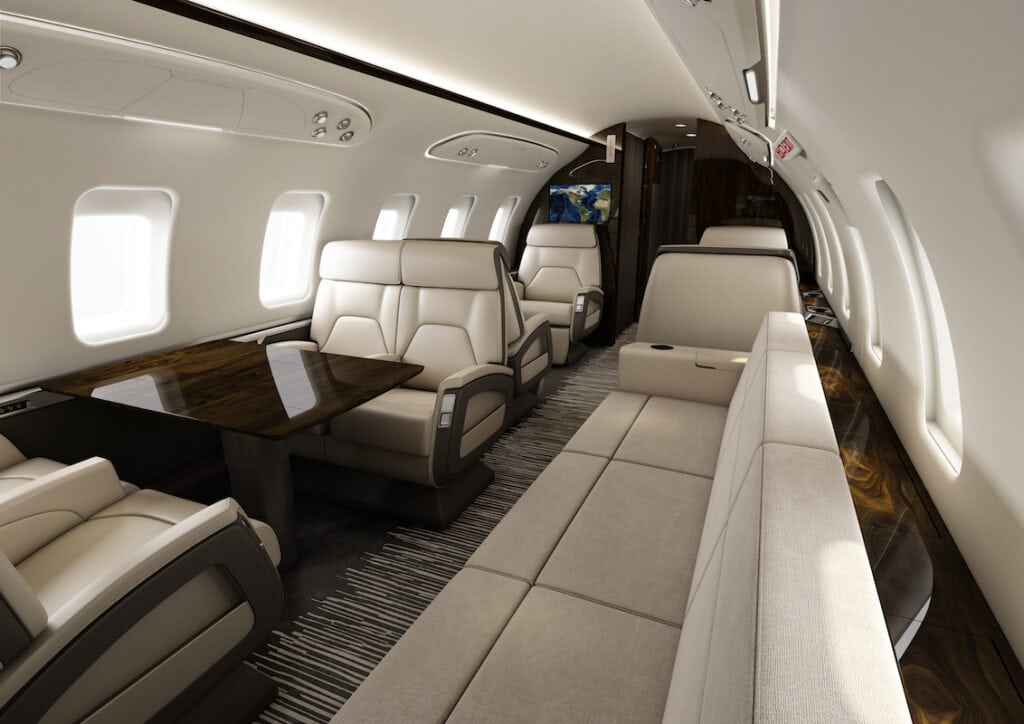 Bombardier Challenger 650 Interior, cream leather divan, club seats and conference area