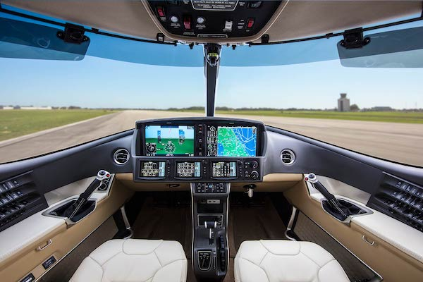 Cirrus Vision Jet SF50 cockpit with Perspective Touch Plus by Garmin cockpit