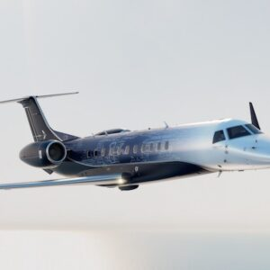 Embraer Legacy 650E Exterior at cruise with white cloud background