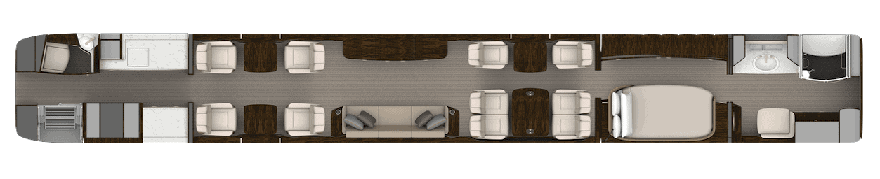 Cabin layout 2 of Gulfstream G700 cabin