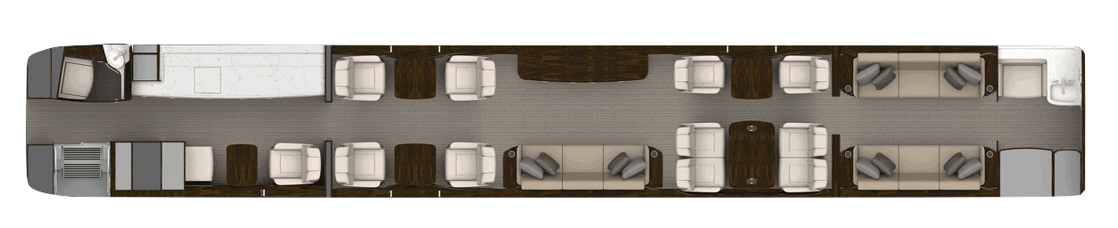 Cabin layout 1 of Gulfstream G700 cabin